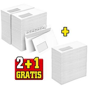 2+1 GRATIS: office discount Briefumschläge DIN lang mit Fenster weiß 2x 500 St. + GRATIS 500 office discount Briefumschläge DIN lang