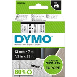 DYMO Beschriftungsband D1 45010 S0720500, 12 mm schwarz auf transparent