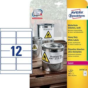 240 AVERY Zweckform wetterfeste Folienetiketten L4776-20 weiß