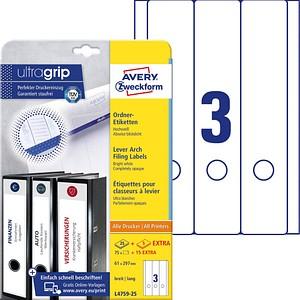 AKTION: 75 AVERY Zweckform Ordneretiketten L4759-25 weiß für 7,0 - 8,0 cm Rückenbreite + GRATIS 15 Etiketten