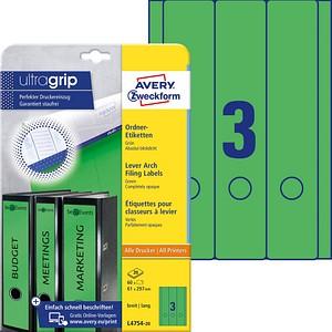 60 AVERY Zweckform Ordneretiketten L4754-20 grün für 7,0 - 8,0 cm Rückenbreite