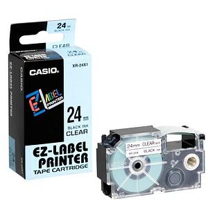 CASIO Beschriftungsband XR-24X XR-24X1, 24 mm schwarz auf transparent