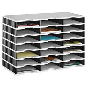 styro Sortierstation Styrodoc grau/schwarz mit 21 Fächern