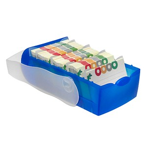 HAN Croco Karteikasten DIN A7   für 900 Karteikarten blau mit Deckel