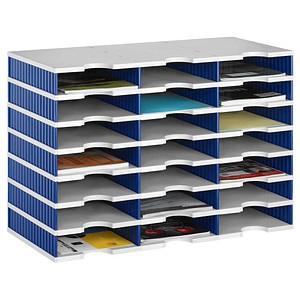 styro Sortierstation Styrodoc grau/blau mit 21 Fächern