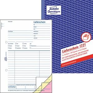 AVERY Zweckform Formularbuch 1721 Lieferschein mit Empfangsschein
