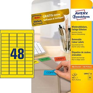 960 AVERY Zweckform Etiketten L6041-20 gelb