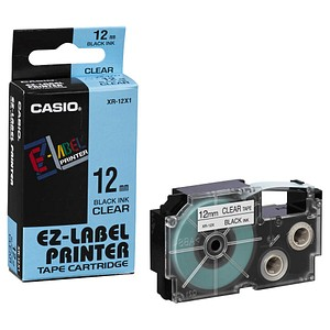 CASIO Beschriftungsband XR-12X schwarz auf transparent 12 mm