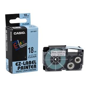 CASIO Beschriftungsband XR-18X XR-18X1, 18 mm schwarz auf transparent