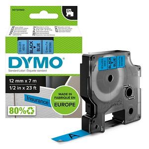 DYMO Beschriftungsband D1 45016 S0720560, 12 mm schwarz auf blau