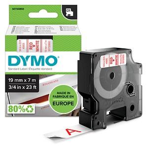 DYMO Beschriftungsband D1 S0720850, 19 mm rot auf weiß