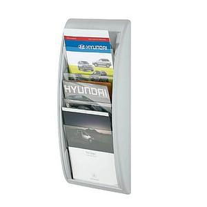 PAPERFLOW Wandprospekthalter Kompakt grau DIN A4 hoch 4 Fächer