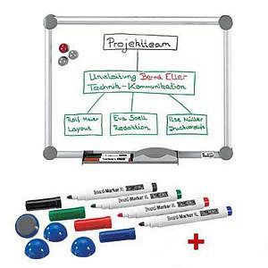 AKTION: MAUL Whiteboard 2000 MAULpro 90,0 x 60,0 cm emaillierter Stahl + GRATIS 4 Boardmarker farbsortiert und 4 Kugelmagnete blau