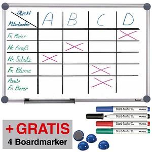 AKTION: MAUL Whiteboard 2000 MAULpro 120,0 x 90,0 cm spezialbeschichteter Stahl + GRATIS 4 Boardmarker farbsortiert und 4 Kugelmagnete blau