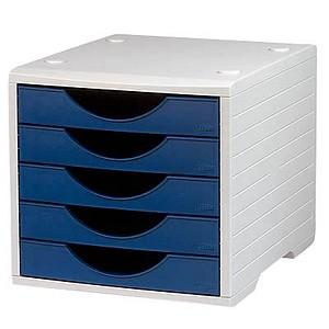 office discount Schubladenbox   blau DIN C4 mit 5 Schubladen