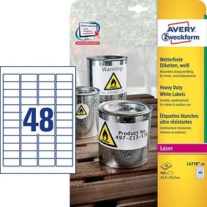 960 AVERY Zweckform wetterfeste Folienetiketten L4778-20 weiß