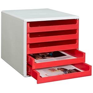 M&M Schubladenbox   rot DIN A4 mit 5 Schubladen