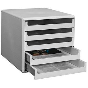 M&M Schubladenbox   lichtgrau DIN A4 mit 5 Schubladen