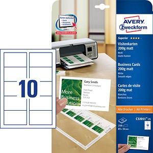 250 Avery Zweckform Visitenkarten C32011 25 Weiß