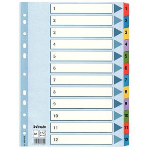 Esselte Ordnerregister   DIN A4 Vollformat 1-12 weiß 12-teilig