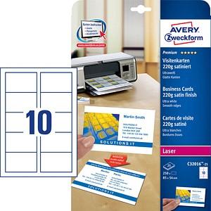 250 Avery Zweckform Visitenkarten C32016 25 Weiß