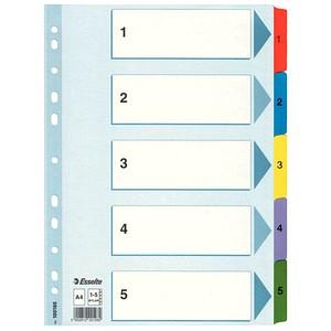 Esselte Ordnerregister   DIN A4 Vollformat 1-5 weiß 5-teilig