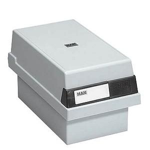 HAN   Karteikasten DIN A7   für 800 Karteikarten grau mit Deckel