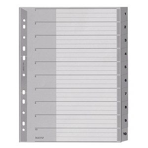 LEITZ Ordnerregister 1280 DIN A4 Vollformat, Überbreite 1-10 grau 10-teilig