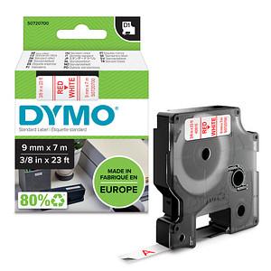 DYMO Beschriftungsband D1 40915 S0720700, 9 mm rot auf weiß