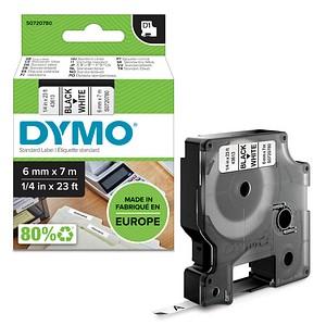 DYMO Beschriftungsband D1 43613 S0720780, 6 mm schwarz auf weiß
