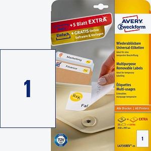AKTION: 25 AVERY Zweckform Etiketten L4735REV-25 weiß + GRATIS 5 Etiketten