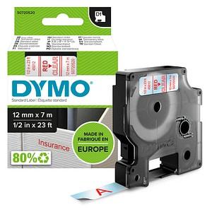 DYMO Beschriftungsband D1 45017 S0720520, 12 mm rot auf transparent
