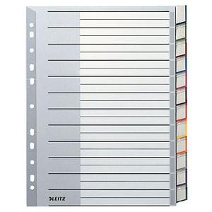 LEITZ Ordnerregister 1274 DIN A4 Vollformat, Überbreite blanko grau 12-teilig