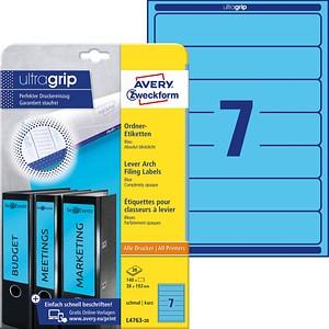 140 AVERY Zweckform Ordneretiketten L4763-20 blau für 4,0 - 5,0 cm Rückenbreite
