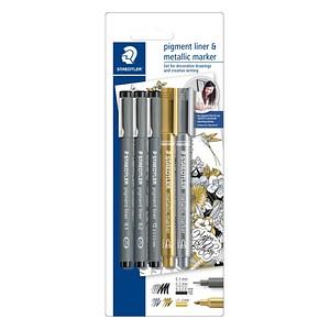 Schreibsets pigment liner & metallic marker von STAEDTLER