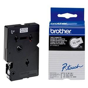 brother Beschriftungsband TC-291 TC291, 9 mm schwarz auf weiß