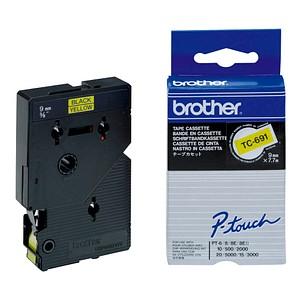 brother Beschriftungsband TC-691 TC691, 9 mm schwarz auf gelb