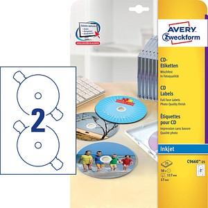 50 AVERY Zweckform CD-Etiketten C9660-25 weiß