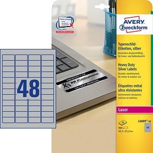 960 AVERY Zweckform Typenschildetiketten L6009-20 silber