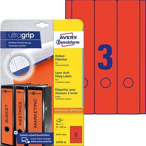 60 AVERY Zweckform Ordneretiketten L4752-20 rot für 7,0 - 8,0 cm Rückenbreite