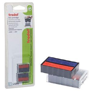 2 trodat Ersatzstempelkissen 6/4850 blau/rot 2,5 x 0,5 cm