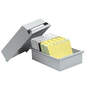 HAN   Karteikasten DIN A5   für 1.300 Karteikarten grau mit Deckel