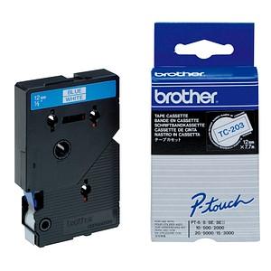 brother Beschriftungsband TC-203 TC203, 12 mm blau auf weiß