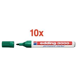 10 edding 3000 Permanentmarker grün 1,5 - 3,0 mm