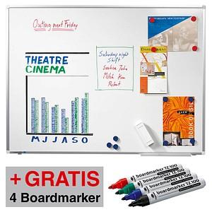 AKTION: Legamaster Whiteboard PREMIUM PLUS 90,0 x 60,0 cm weiß + GRATIS 4 Boardmarker TZ 100 farbsortiert
