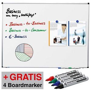 AKTION: Legamaster Whiteboard PREMIUM 180,0 x 90,0 cm spezialbeschichteter Stahl + GRATIS 4 Boardmarker TZ 100 farbsortiert