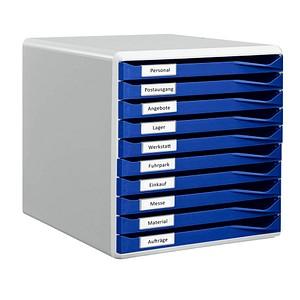 1 LEITZ Schubladenbox Formular-Set blau DIN A4 mit 10 Schubladen